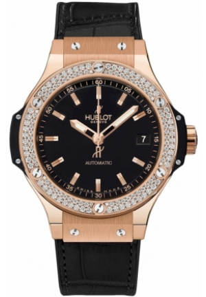 HUBLOT Big Bang Black Dial Automatic 18K Rose Gold Black Alligator Men's Watch 38mm