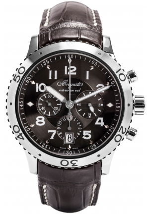 TRANSATLANTIQUE TYPE XXI FLYBACK RUTHENIUM DIAL BROWN LEATHER AUTOMATIC MENS WATCH 3810ST929ZU, 42.5 MM