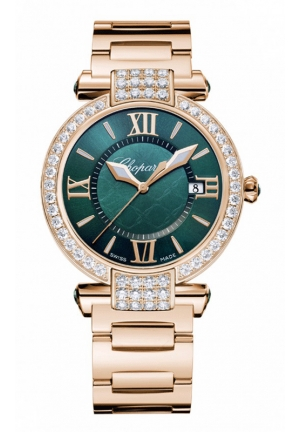 CHOPARD IMPERIALE 36 mm Watch 18-carat rose gold, green tourmalines