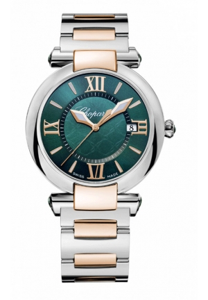 CHOPARD IMPERIALE 36 mm Watch 18-carat rose gold, stainless steel and green tourmalines