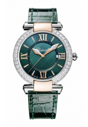 CHOPARD IMPERIALE 36 mm Watch 18-carat rose gold, stainless steel, green tourmalines and diamonds