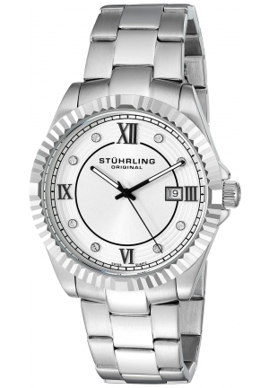 Stuhrling Original Men's  Symphony Swiss Quartz Date Stainless Steel Crystal- Accented Link Bracelet Watch