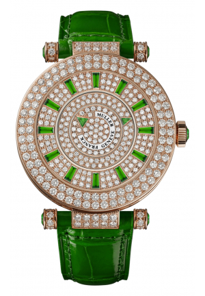 ROUND CLASSIC DOUBLE MYSTERY ELEGANCE LADIES WATCH 42 DM D 2R CD GREEN, 42MM
