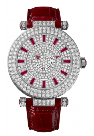 ROUND CLASSIC DOUBLE MYSTERY ELEGANCE LADIES WATCH 42 DM D 2R CD RED, 40MM