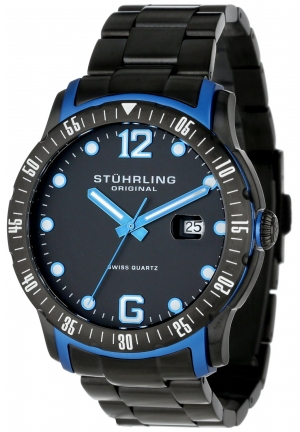 Stuhrling Original Men's Octane Concorso Trofeo Swiss Quartz Date Black Bracelet Watch