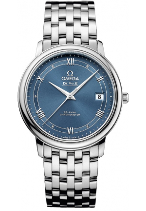 DE VILLE PRESTIGE AUTOMATIC BLUE DIAL WATCH 424.10.37.20.03.002