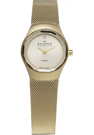 Skagen Women's 432SGSG Quartz Gold Tone Stainless Steel Champaigne Dial Watch