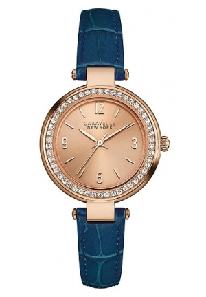 Caravelle New York Ladies Mini T-Bar Purple Leather Strap Watch
