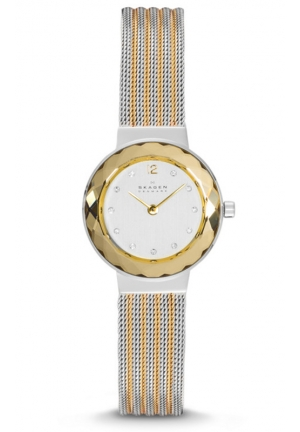 Skagen Leonora  striped steel mesh Ladies Watch