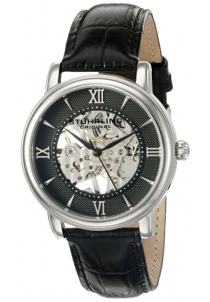 Stuhrling Original Men's 'Legacy' Mechanical Hand Wind Stainless Steel and Black Leather Dress Watch