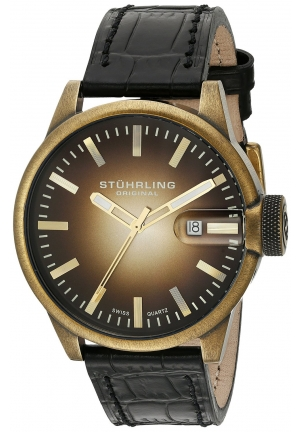 Stuhrling Original Men's Octane Concorso Classic Swiss Quartz Date Gold Tone Watch