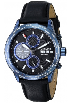 Stuhrling Original Men's Classic Nomad Blue Stainless Steel Automatic Watch with Black Leather Band