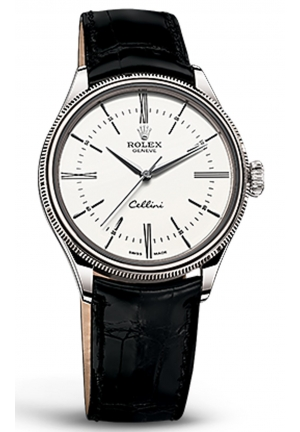 CELLINI TIME 18 CT WHITE GOLD, POLISHED FINISH BLACK LEATHER 50509-0007, 39MM