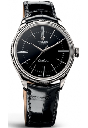 Cellini Time black dial and black leather , 50509 39mm