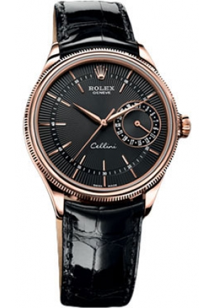 Cellini Date black dial and black leather , 50515 bkbk 39mm