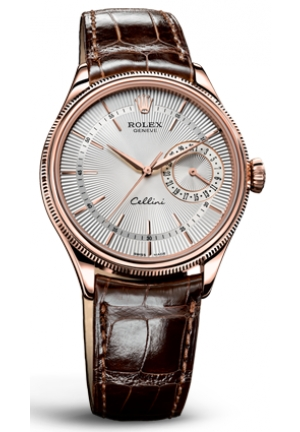 Cellini Date silver dial and brown leather , 50515 sbr 39mm