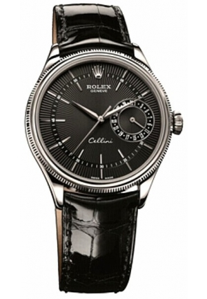 Cellini Date black dial and black leather , 50519 bkbk 39mm