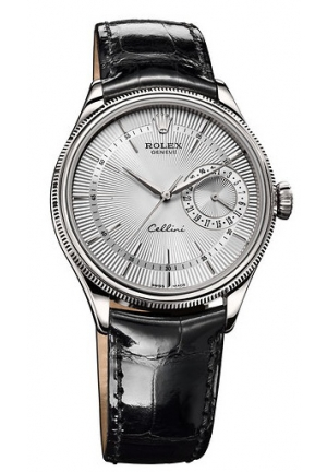 Cellini Date white dial and black leather, 50519 sbk 39mm