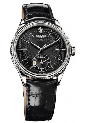 Cellini Dual Time black dial and black leather, 50529 bkbk 39mm