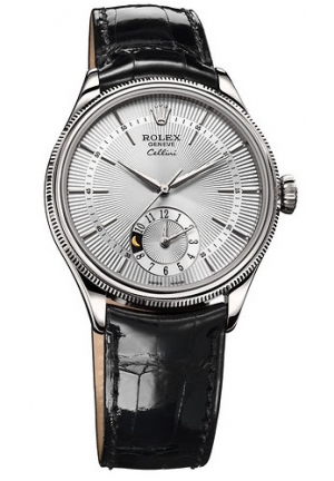 Cellini Dual Time silver dial and black leather , 50529 sbk 39mm