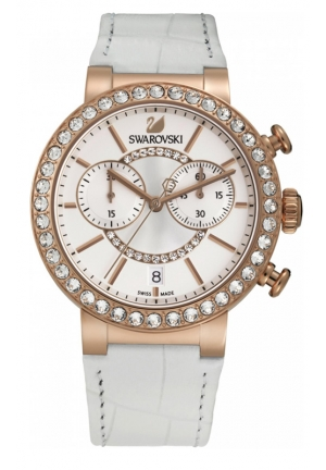 SWAROVSKI Citra Sphere Chrono White Rose Gold Tone Watch 38mm 5080602