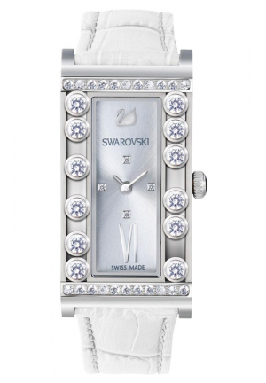 LOVELY CRYSTALS SQUARE WHITE WATCH 21 X 43 MM