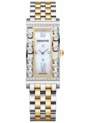 LOVELY CRYSTALS SQUARE /YELLOW GOLD TONE WATCH 21×33