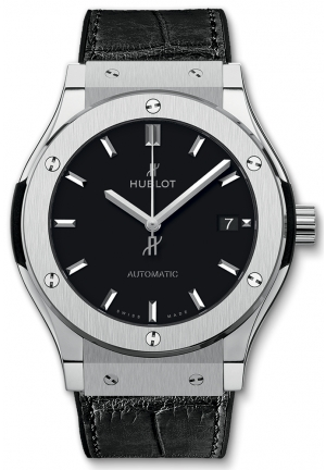 HUBLOT Classic Fusion Black Dial Black Leather Watch