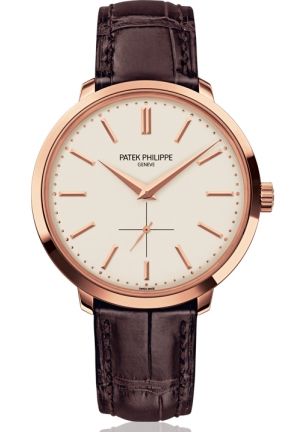 Calatrava Silver Dial 18k Rose Gold Brown Leather Mens Watch , 38mm