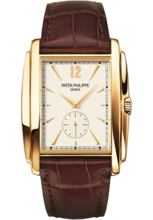 Gondolo Silver Dial Yellow Gold Leather Mens Watch , 43 x 33.40mm