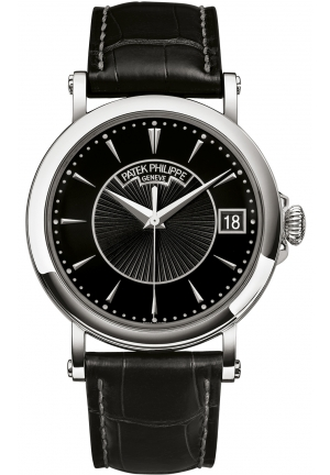 Calatrava Black Dial 18k White Gold Black Leather Mens Watch , 38 mm