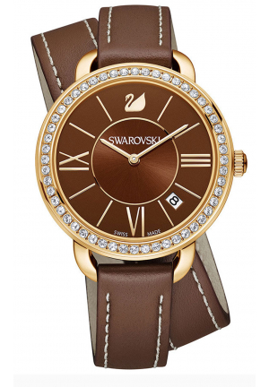 AILA DAY DOUBLE TOUR BROWN SUNRAY DIAL GENUINE LEATHER
