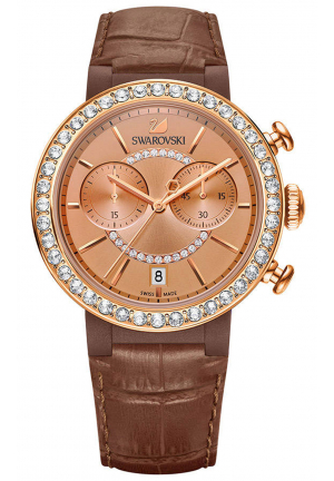 CITRA SPHERE CHRONO ROSE GOLD PLATED BROWN LEATHER WATCH , 38MM
