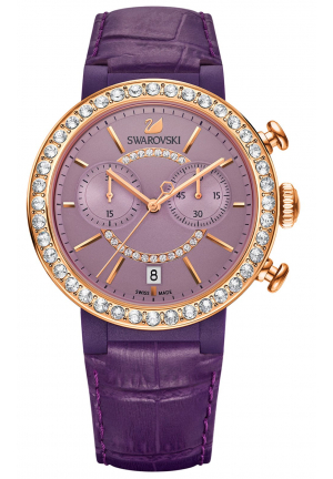 CITRA SPHERE CHRONO ROSE GOLD PLATED VIOLET LEATHER WATCH , 38MM