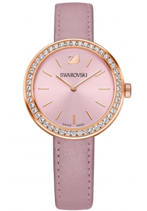 DAYTIME ROSE GOLD PLATED PINK LEATHER LADIES WATCH 34MM