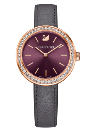 DAYTIME ROSE GOLD PLATED GRAY LEATHER LADIES STRAP WATCH 34MM