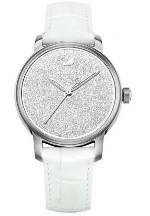 CRYSTALLINE HOURS WHITE LEATHER LADIES WATCH 38MM