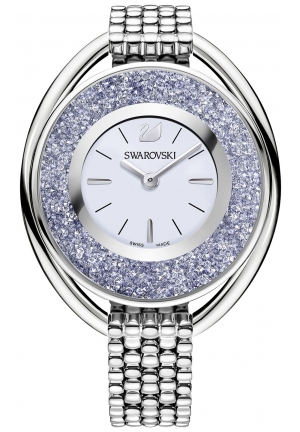 CRYSTALLINE OVAL WATCH, SILVER TONE  37MM