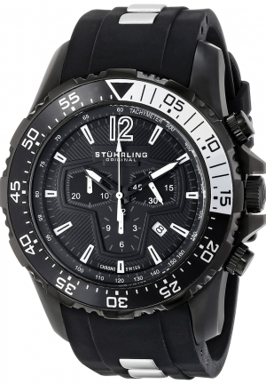 Stuhrling Original Men's Nautical Enterprise II Analog Display Swiss Quartz Black Watch