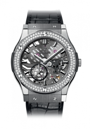 HUBLOT Classic Fusion Classico Ultra-thin skeleton Titanium Diamonds 42mm
