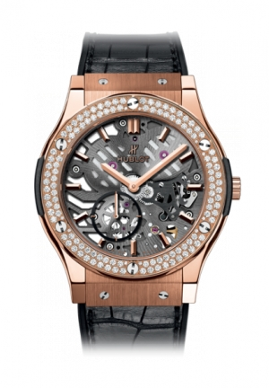 HUBLOT Classic Fusion Classico Ultra-thin skeleton King Gold Diamonds 42mm