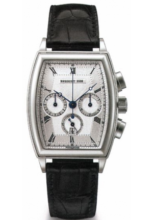 HERITAGE CHRONOGRAPH 18K WHITE GOLD BROWN LEATHER MEN'S WATCH 38.7 X 32.8MM