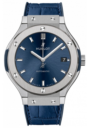 CLASSIC FUSION AUTOMATIC BLUE SUNRAY DIAL TITANIUM MEN'S WATCH 565.NX.7170.LR, 38MM