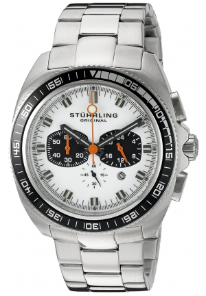 Stuhrling Original Men's  Octane Concorso Japanese Quartz Chronograph Date Stainless Steel Link Bracelet Watch