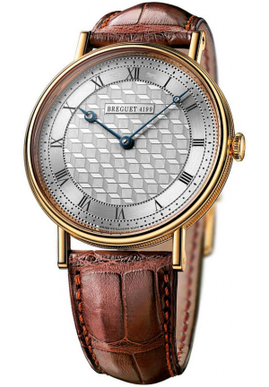 CLASSIQUE MANUAL WIND SILVER DIAL BROWN LEATHER MENS WATCH 5967BA119W6, 41MM