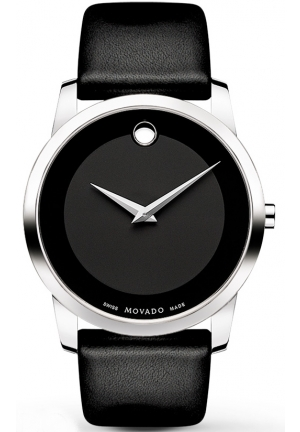 Men's Swiss Museum Black Leather Strap Watch, 40mm