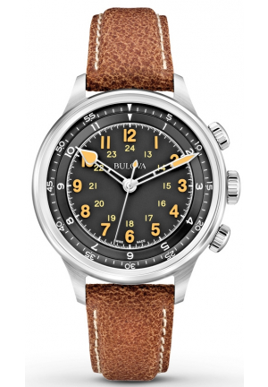 A-15 COLLECTION WITH BLACK DIAL CHRONOGRAPH DISPLAY AND BROWN LEATHER STRAP , 40MM 63A119