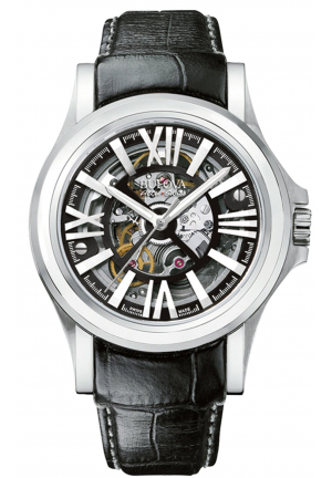 KIRKWOOD COLLECTION SELF-WINDING BLACK LEATHER WATCH , 40MM 63A122