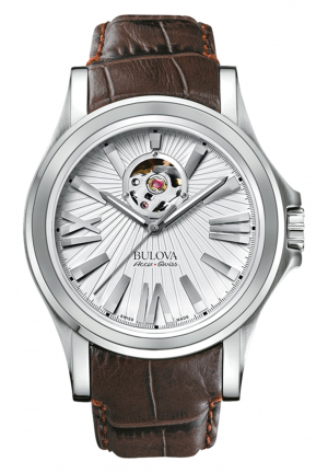 Bulova Accu·Swiss KIRKWOOD COLLECTION BROWN LEATHER STRAP WATCH , 40MM 63A124