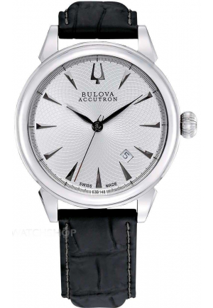 GEMINI COLLECTION AUTOMATIC SILVER  BLACK LEATHER STRAP, 42MM